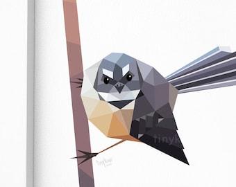 New Zealand bird, Fantail painting, Geometric poster, Native New Zealand bird, NZ art, tinykiwi prints, Kiwiana, Tui art, Made in NZ, Kiwi