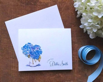 Watercolor Blue Hydrangeas Personalized Folded Notes - Set of 10