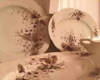 1880s Handpainted French Porcelain Blackberry Pattern~Lot of 17 pieces