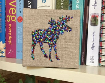 CHESTER the Tiny Moose, Original Artwork, colourful, dots, animals, Canada