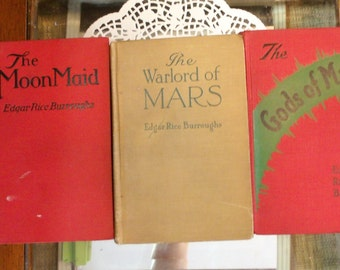 Antique Books Edgar Rice Burroughs Books ~ The Moon Maid ~ The Warlord of Mars  ~ The Gods of Mars ~ TARZAN  ~ Red books home Decor design