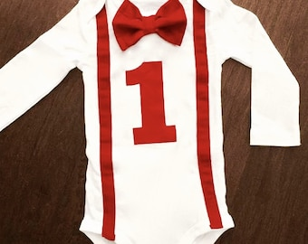 "One Year Boy Birthday Outfit BOW TIE & SUSPENDERS Onesie ""1"" Can be Customized***More Color Options****Baby Gift"