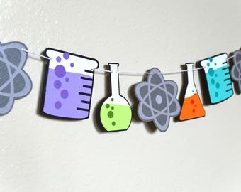 Birthday Party Garland Banner   Photo Shoot Prop   Party Decor   Mad Scientist Theme   Science Chemistry Theme