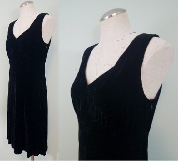 1990s Black Velvet Mini Dress / Grunge, Crushed Velvet Dress / V-Neck, Bias Cut, Slip Dress / Vintage Laura Ashley / Modern Size Small S