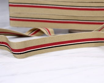 5 m tape 20mm, acrylic and polyester, beige, red, black, white, (4997)