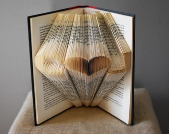 Book Lover Gift for a Bookworm, Folded Book Art Sculpture, Gift for Boyfriend