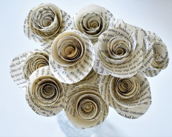 Paper Flowers, Set of 12 Paper Flower Bouquet, Book Page Roses