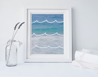 Ocean Waves Print, Printable Art, Home Decor, Poster, Instant Download