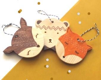 Set of 3 animal Christmas balls for DIY (Fox bear deer) Christmas tree / 3 wooden painted animals for Christmas decoration
