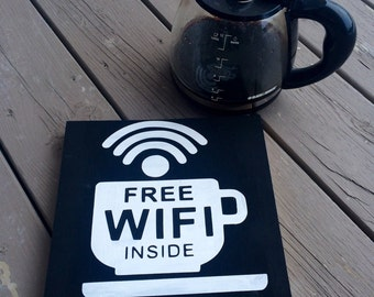 Custom Free WIFI Inside wood sign // WIFI sign // WIFI decor // store sign // wood painted sign // coffee sign // coffee cup