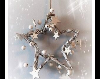 White Willow Hanging Star, Christmas decoration, Home decor, Wedding, pentagram star