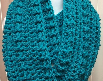 Turquoise Scarf, Wide Scarf, Crochet Scarf, Chunky Scarf, Infinity Scarf, Blue Scarf, Crocheted Scarf, Winter Scarf, Gifts for Her