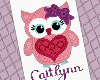 Valentine Owl Applique Design Heart Applique Heart Design Valentine Embroidery Owl Applique Embroidery Design Petunia Petals Designs 1253