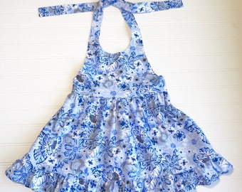 Blue Floral Halter Dress Girls Dress
