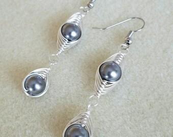 Silver Herringbone Wire Woven Gray Beaded Dangle Earrings