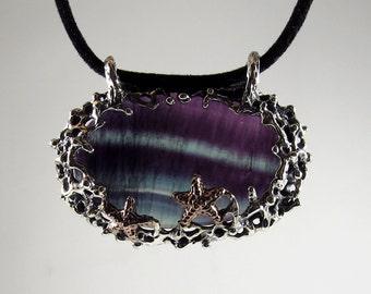 fluorit jewelery pendant, sterling silver fluorit pendant, purple fluorit pendant,gold-plated,ocean pendant,