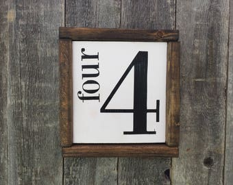 Family Number Wood Sign Framed // Rustic // Farmhouse // Home Decor // Handmade Sign
