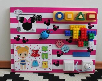 "Busy Board ""mini Miney"", Activity Board, Sensory Board, Montessori educational Toy, Fine motor skills board for toddlers & babies"