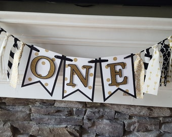 black and gold first birthday banner * ONE banner * black and gold rag garland banner* first birthday banner * high chair * black and gold