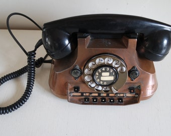 Vintage 40s switchboard rotary copper and bakelite telephone