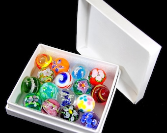 Stunning Boxed Set of 16 x Handmade Glass Art Marbles - Beautiful Art Jewellery Pendant Stones