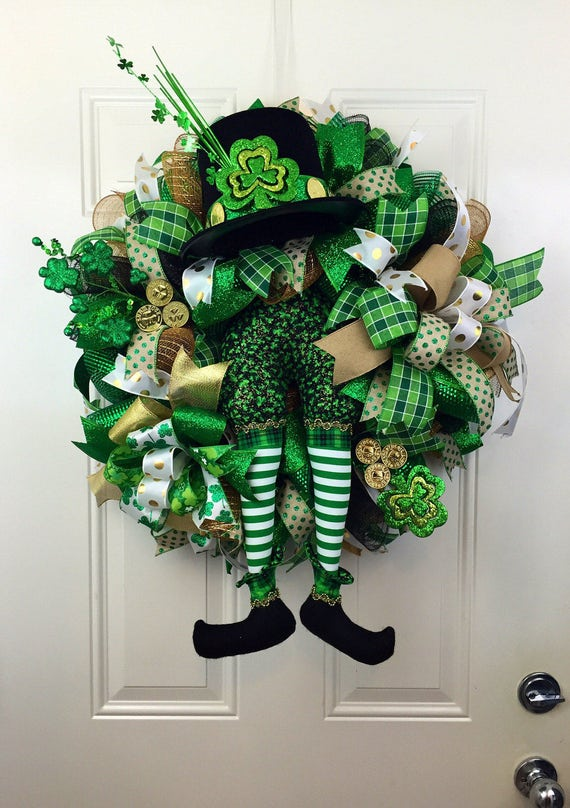 st patrick 39 s day deco mesh wreath deco mesh wreath for. Black Bedroom Furniture Sets. Home Design Ideas