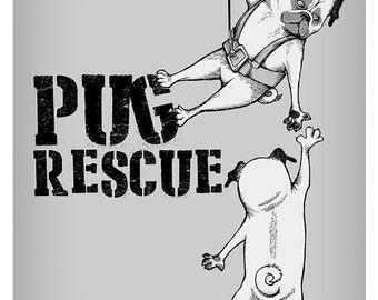 Pug Rescue Art Print