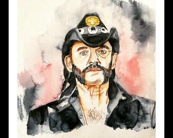 Lemmy Kilmister from Motorhead Watercolor Print