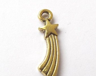 Siver or golden falling star charm 20x5mm - 3 pieces