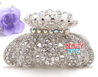 Silver Crystal high quality Metal Imperial crown Hair Claw Clip Pin