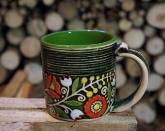 Large ceramic mug Sister mug Poppies mug Poppy gift Hand painted mug Coffee mug Latte cup Mug for him For husband Bride and groom Cappuccino