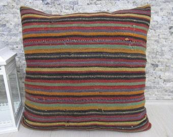 "Rustic Color Decorative Pillows Handmade Kilim Pillow Case 28"" x 28"" Floor Pillow Decorative Handmade Pillow Aztec Pillow Kelim Cushion"