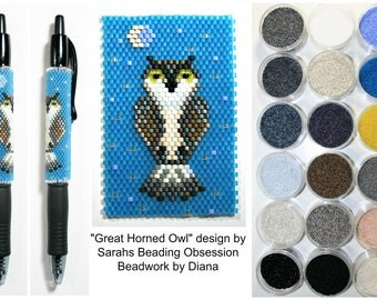 Great Horned Owl by Sarahs Beading Obsession beaded pen kit (pattern sold separately)