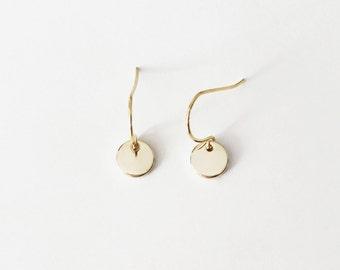 Gold Minimal Coin Earrings