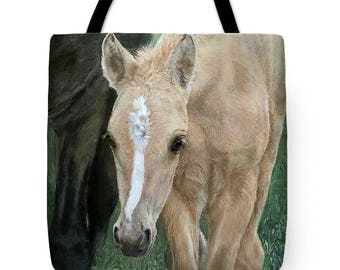 Horse Tote Bag, Canvas Tote Bag, Small Tote Bag, Kiger Colt Horse