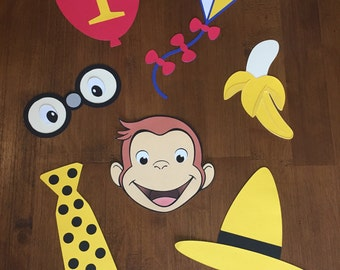Curious George Photo Booth Props, 7 Piece Set - Birthday Party, Monkey, Yellow Hat, Balloon