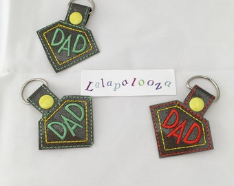 Dad keyring - embroidered keyring - vinyl keyring - dads gift - stocking filler