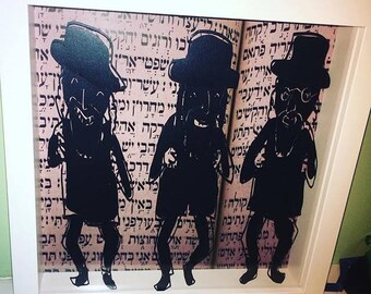 Jewish paper cut - rabbi art