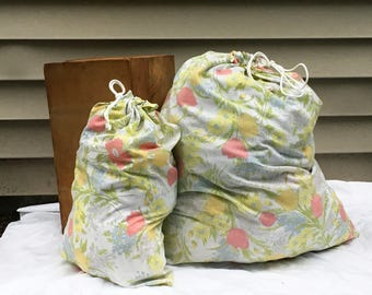 Pink & Yellow Floral Laundry Bag
