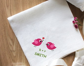 Bird Embroidery for Special Occasion Napkins Set of 2 Napkins Eco Friendly Napkins Natural Wedding Embroidery