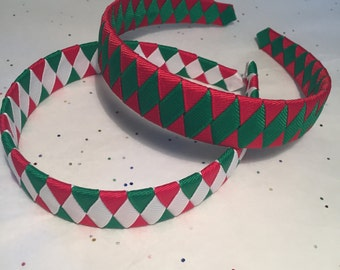 Christmas Woven Headband - Red,Green and White Woven Headband-Woven headband