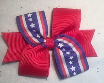 4th of July Hairbow, Patriotic Hair Bow, Sweet and Simple Bow