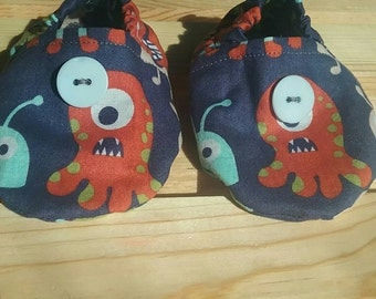 Baby boy booties, baby boy crib shoes, monster crib shoes, monster baby shoes, monster baby booties
