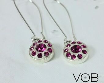 Swarovski Crystal Dangle Earrings | Handmade Jewelry | Gift for Her | Fuchsia Pink Crystal