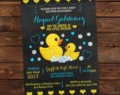 Rubber duck baby shower invitation - Printable baby shower invitation boy - Chalkboard rubber duck - Editable baby shower invitations