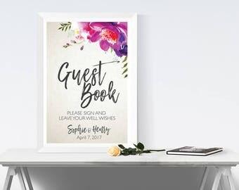 Wedding guest book sign, wedding sign, wedding signs, purple wedding, wedding printables, wedding decor, wedding decoration, guest book sign