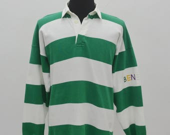 Vintage Rare 80's Benetton Polo Rugby Shirt made Italy spellout Size M/L