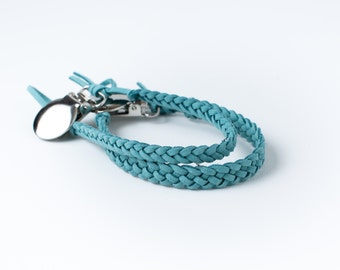 Braided Suede Leather Pacifier Clip | Turquoise