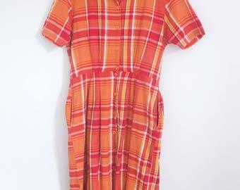 Vintage 80's Oversize Orange Check Tartan Gingham Picnic Button Up Midi Tea Dress Size 14