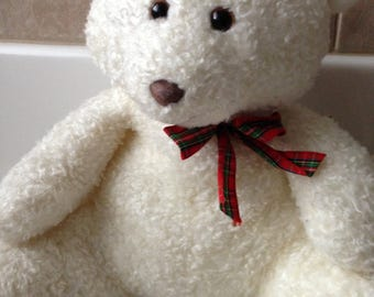 Vintage Eden White Holiday Teddy Bear with Plaid Bow